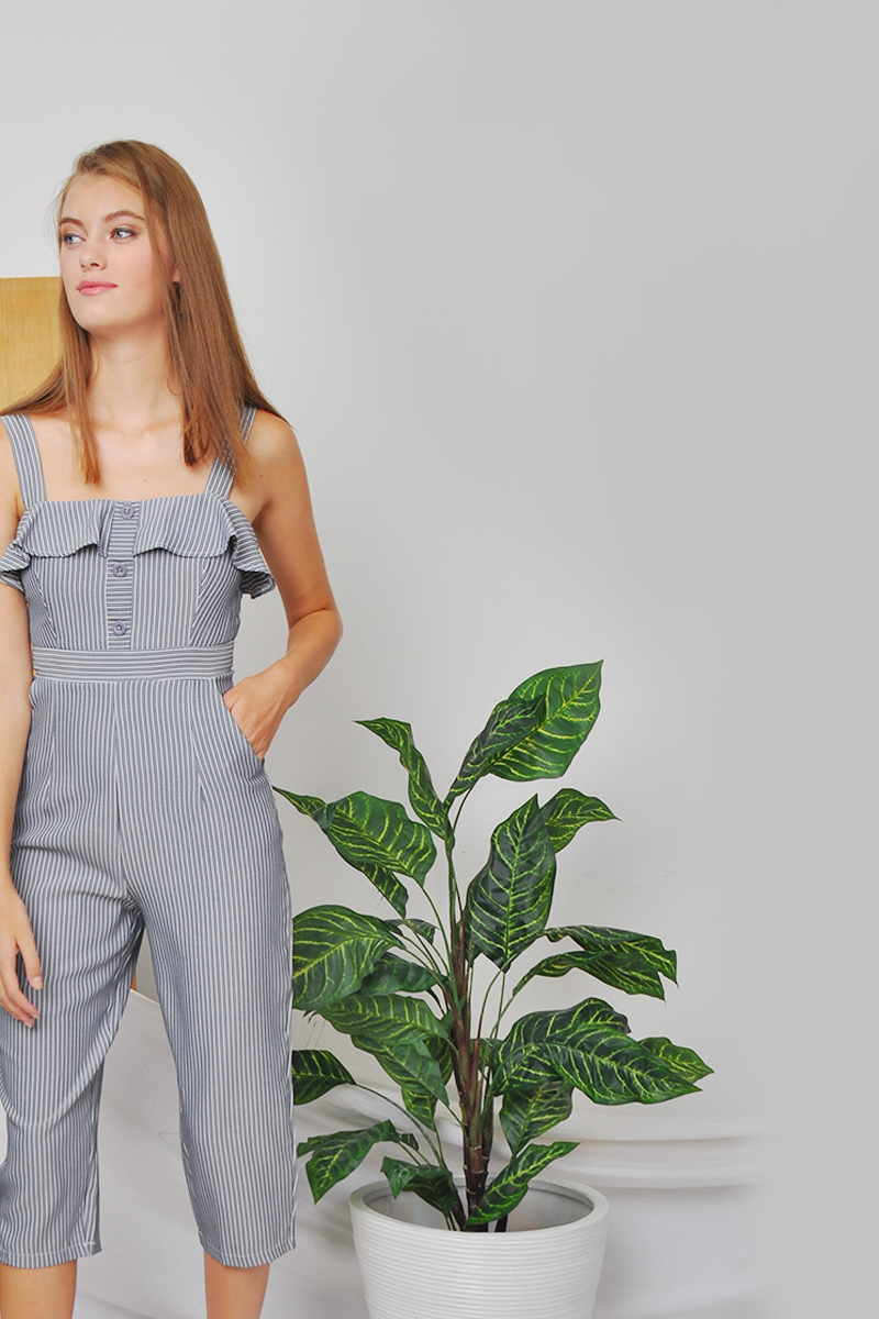5b1c1dc149 ... Mckenna Pinstriped Jumpsuit Black. 1
