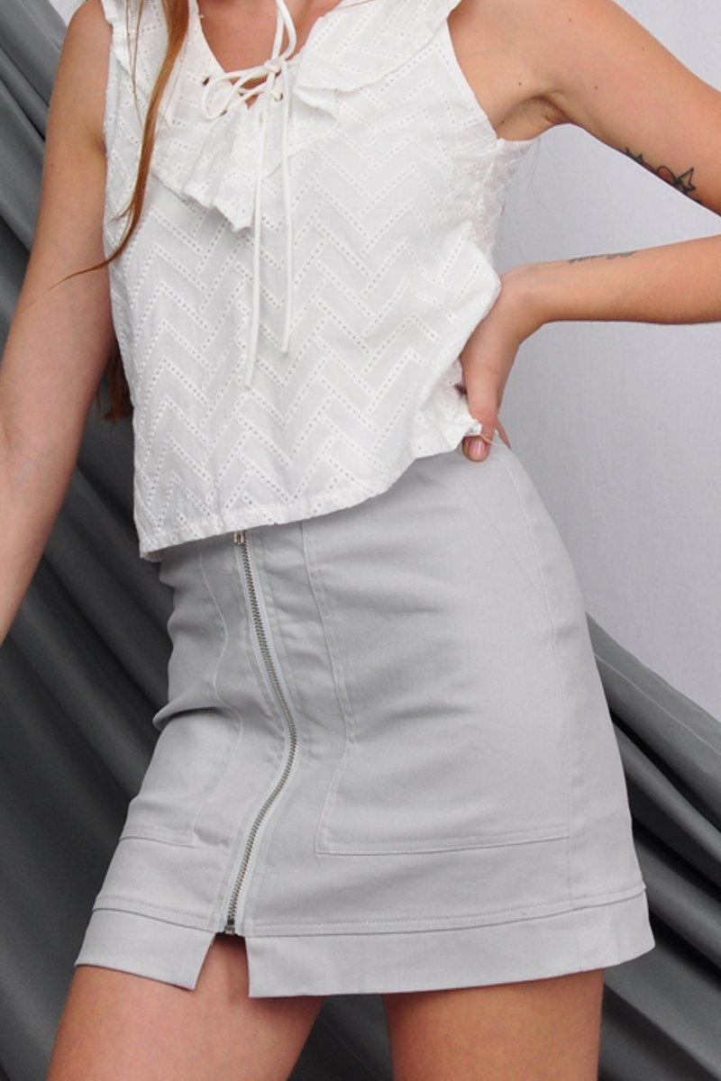 Tinley Zipper Skirt Grey