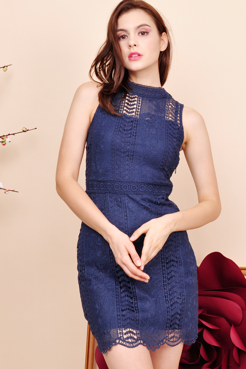 Kaidence Crochet Lace Mock Neck Dress Midnight
