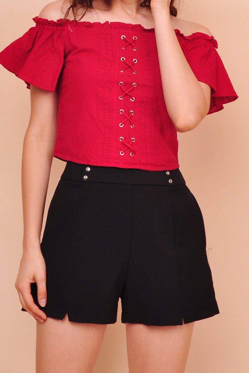 Dona Studded High-Waist Shorts Black