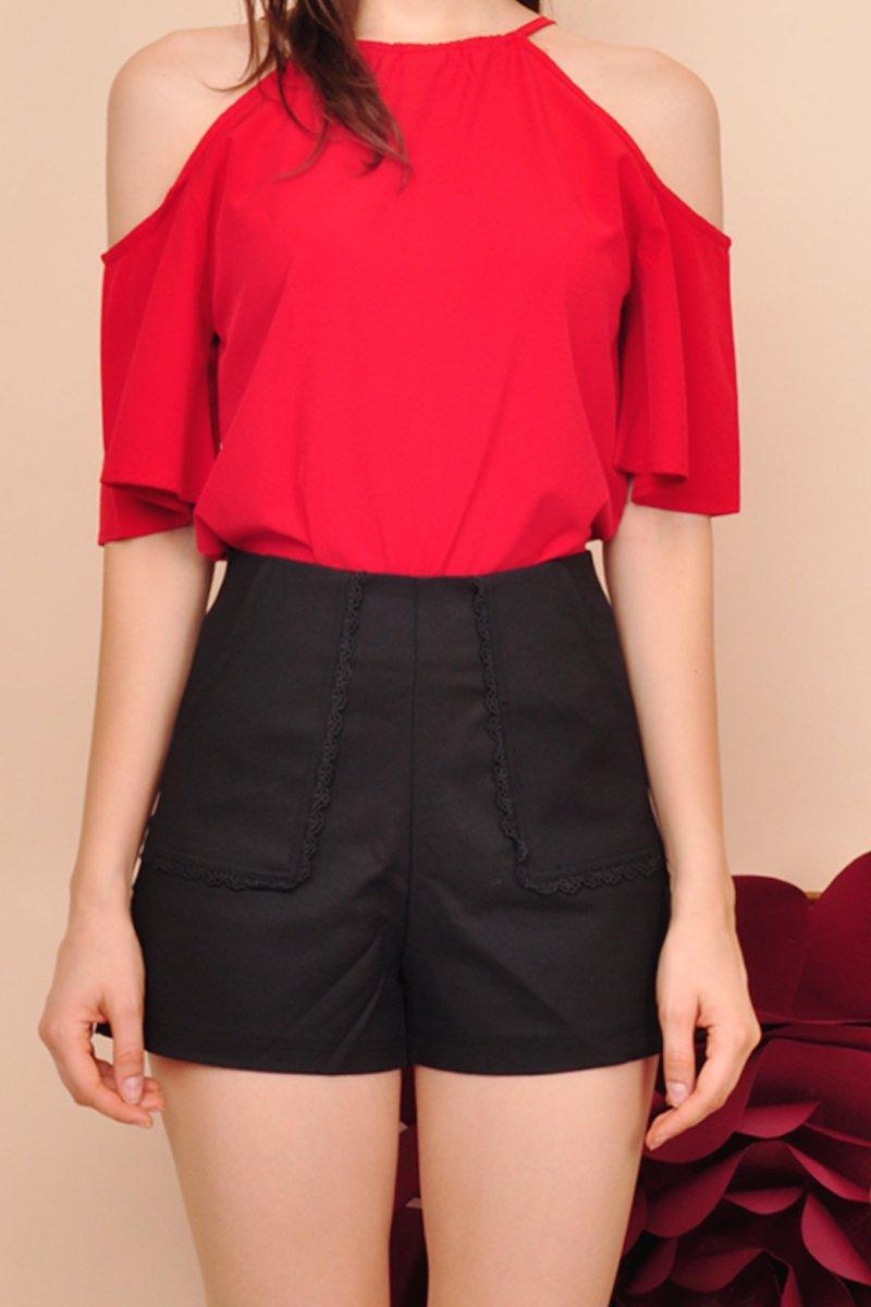 Leighton Eyelet Trim Shorts Black