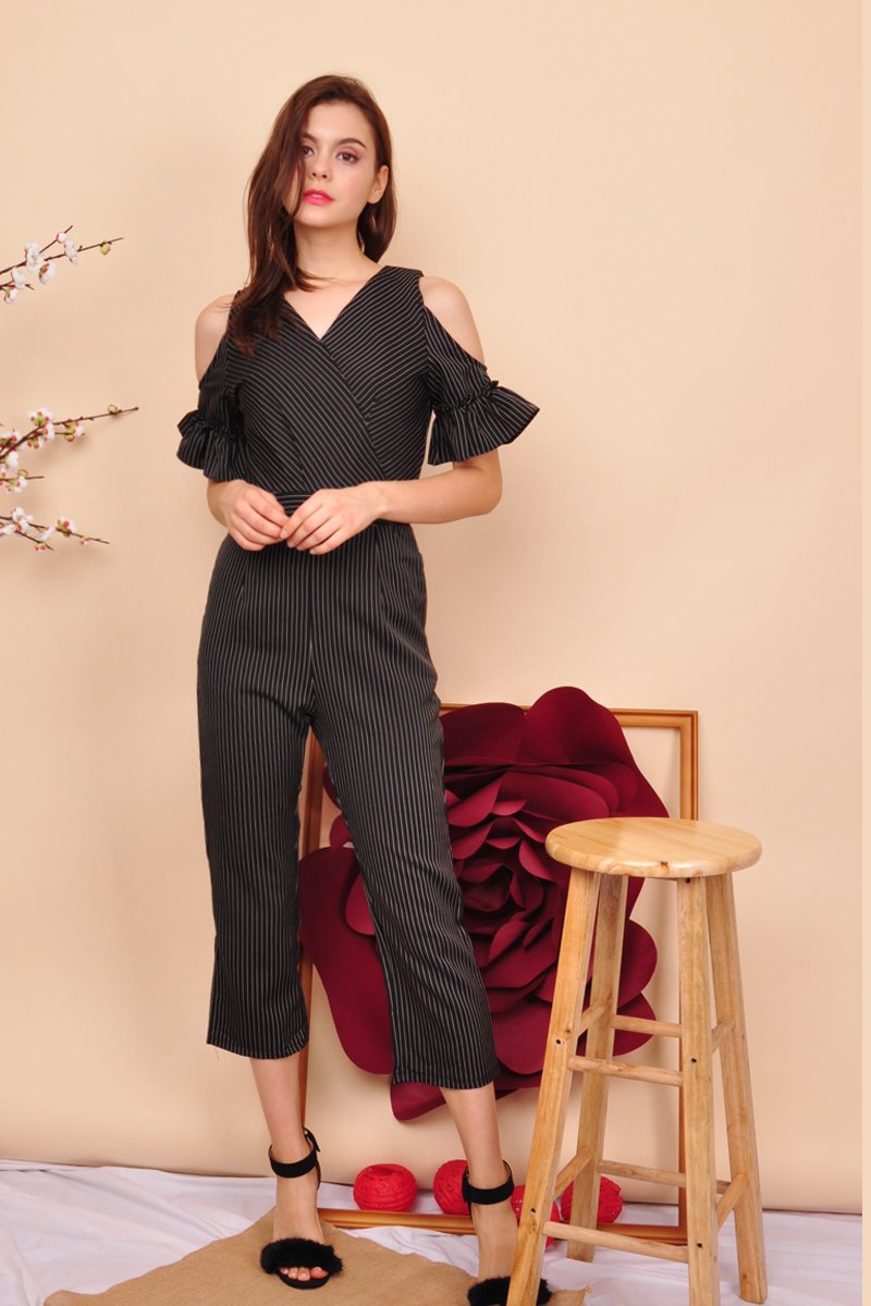 Maisie Ruffle Sleeves Jumpsuit Black