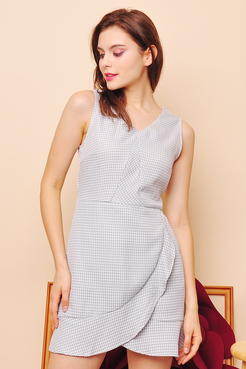 Bailey Gingham Ruffle Dress Grey