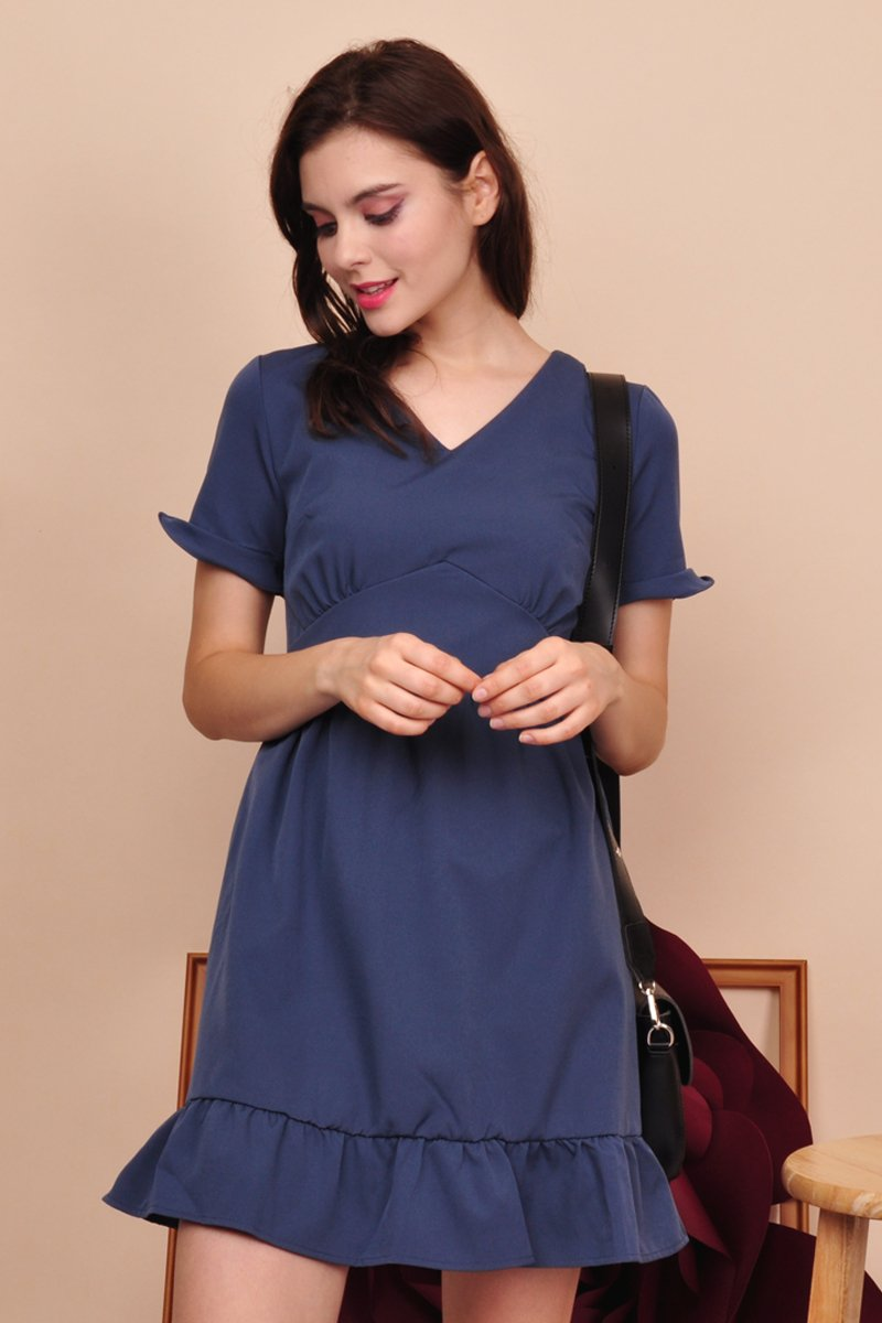 Rian Ruffle Sleeves Dress Midnight