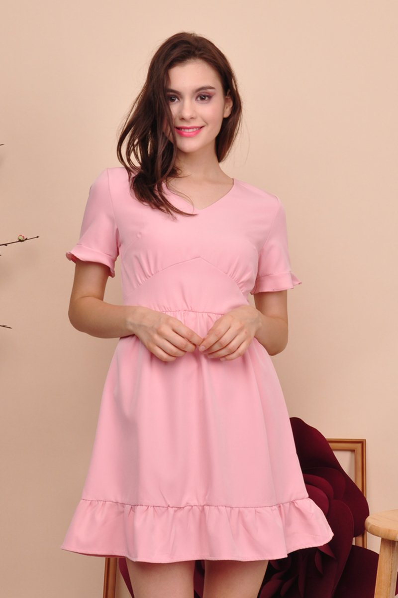 Rian Ruffle Sleeves Dress Blush