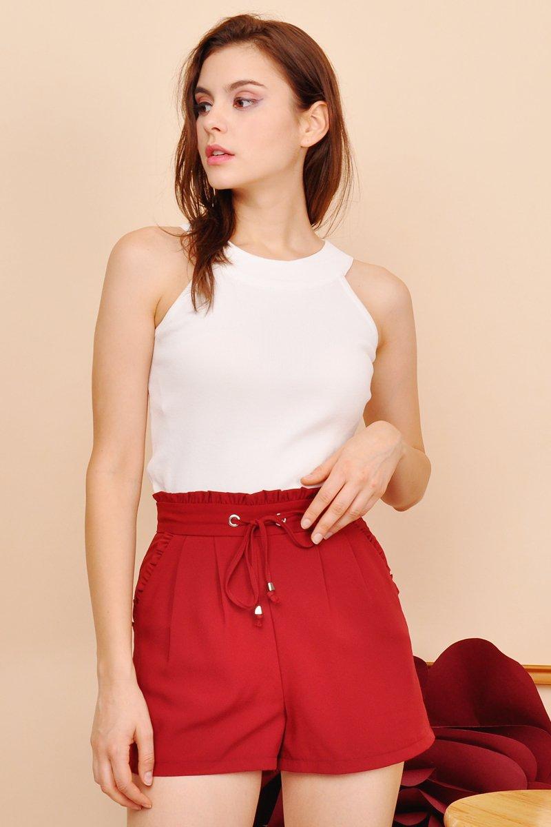Sloane Paperbag Shorts Scarlet