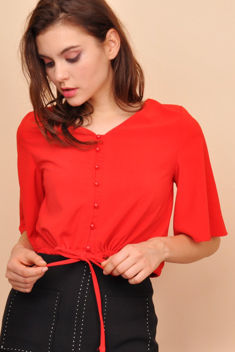 Aria Drawstring Top Scarlet