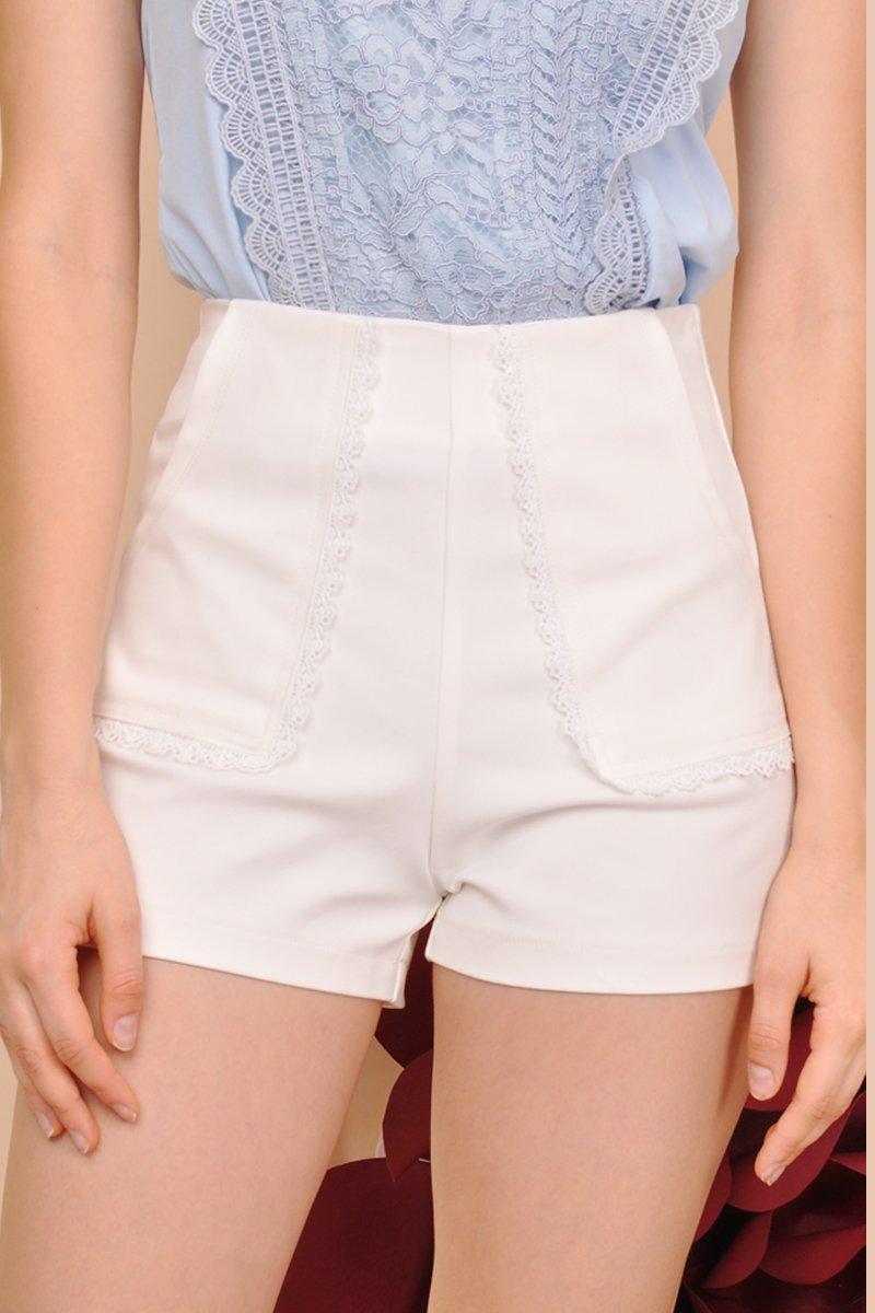 Leighton Eyelet Trim Shorts Ivory