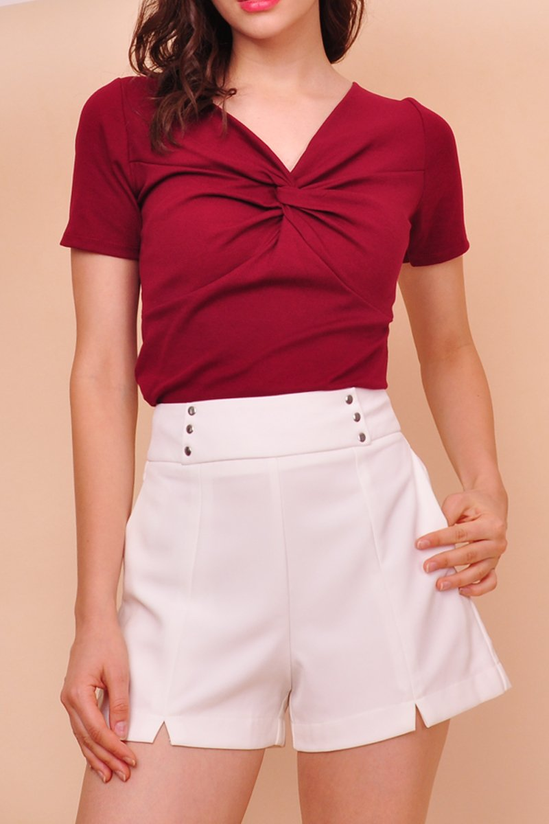 Dona Studded High-Waist Shorts Ivory