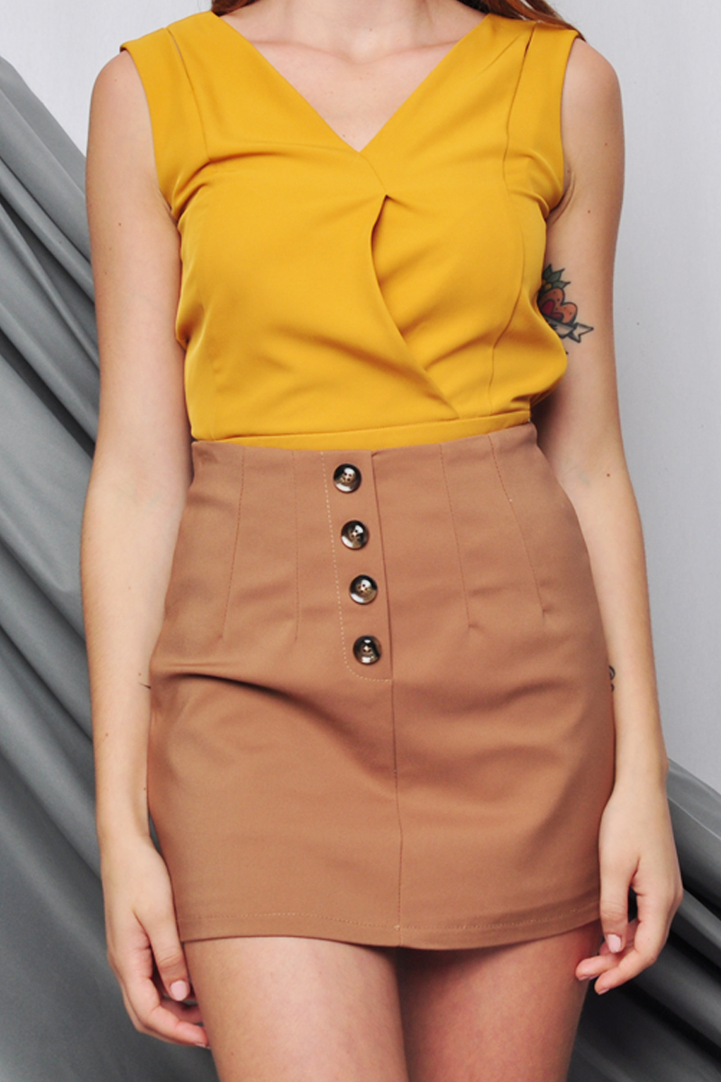 Maurine Button Down Skort Caramel