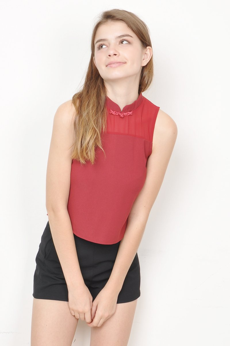 Willow High Neck Top Maroon