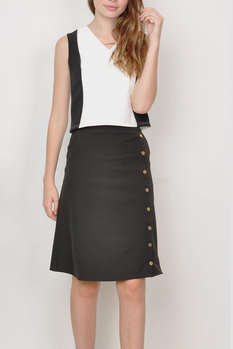 Kasie Button Down Midi Skirt Black