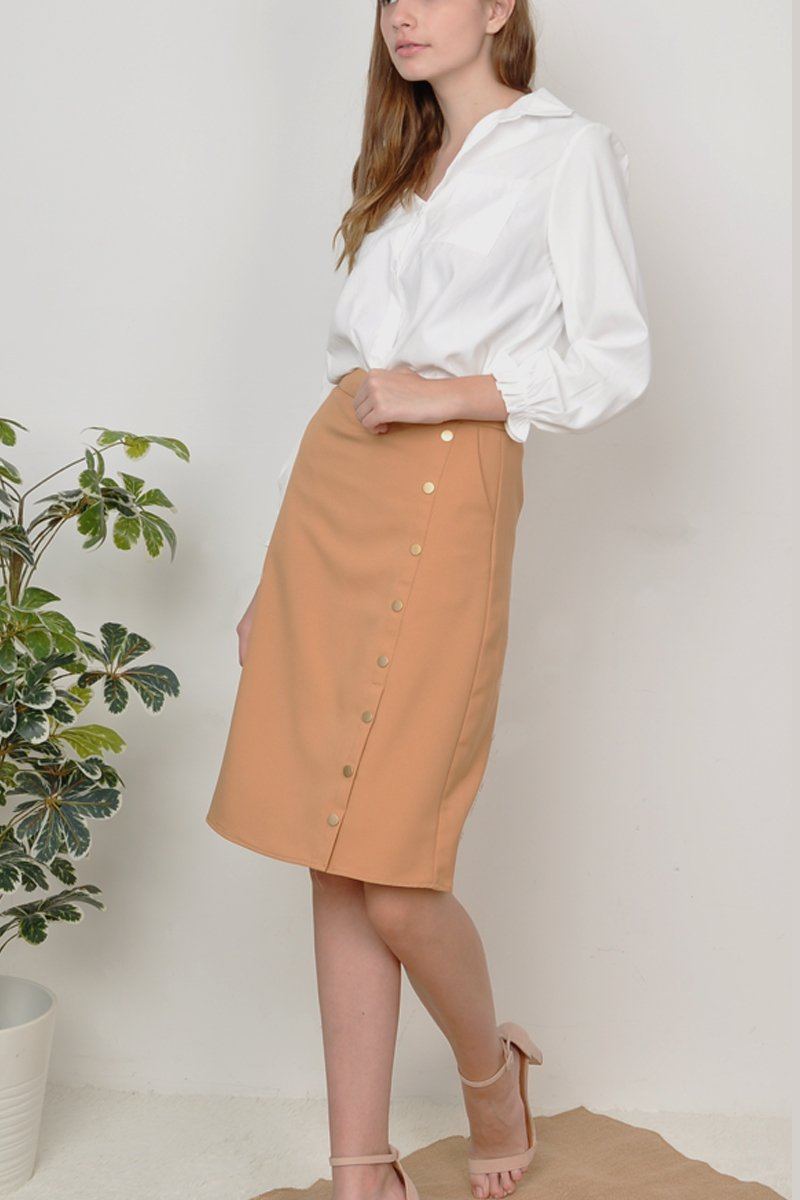 Kasie Button Down Midi Skirt Caramel