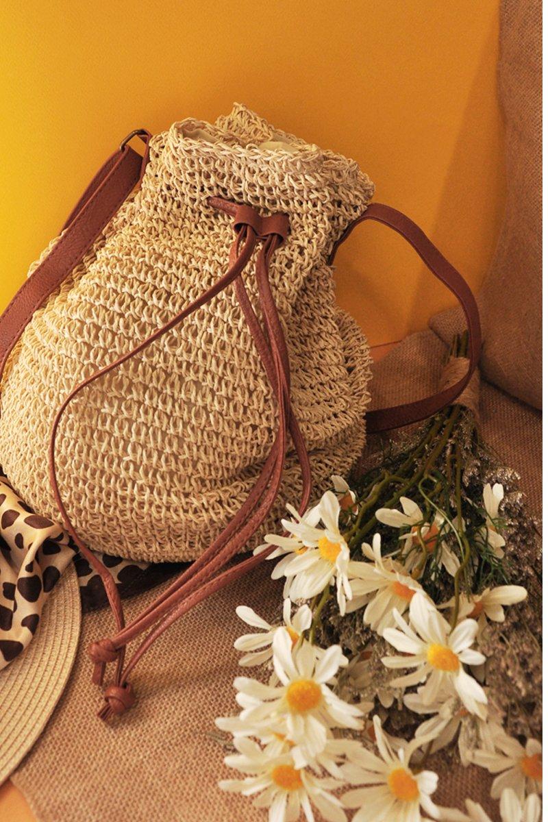 Hadrian Weaved Drawstring Bucket Bag Cream
