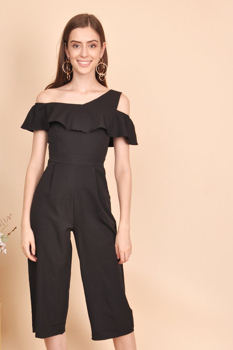 Maris Ruffle Layered Jumpsuit Black