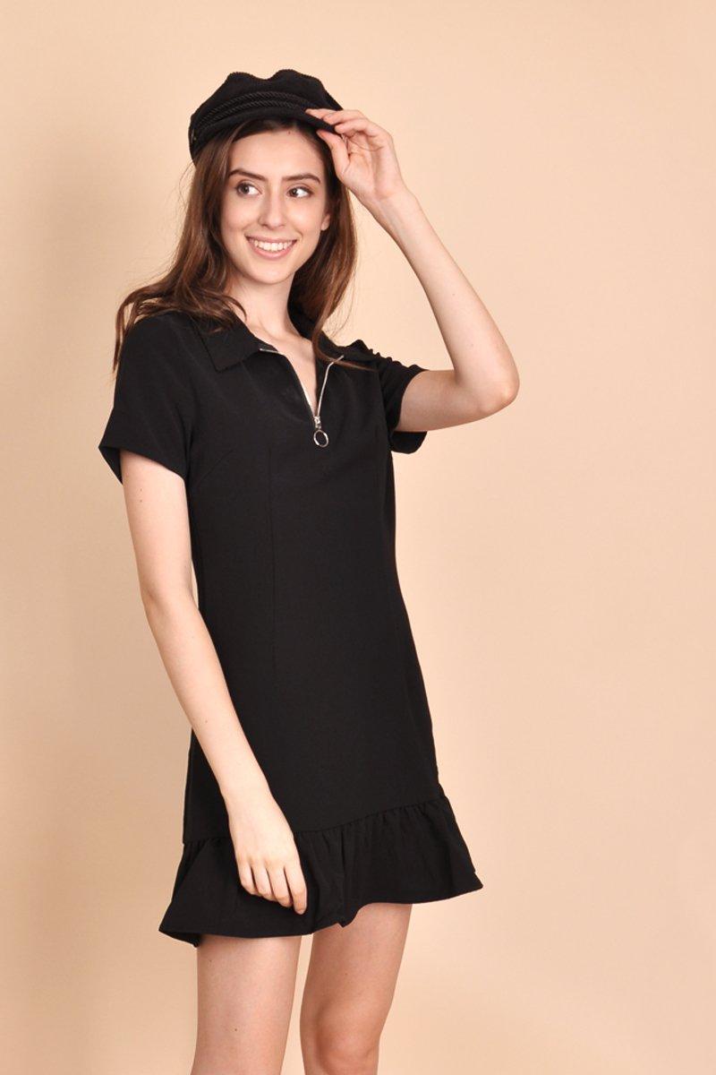 Elsie Zipper Collar Dress Black