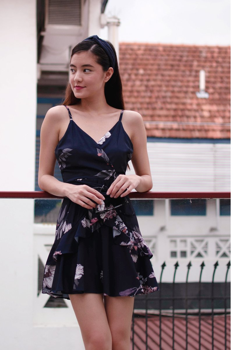 Mikel Floral Ruffle Dress Midnight