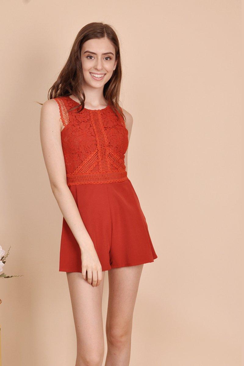 Edilyn Crochet Lace Romper Burnt Orange