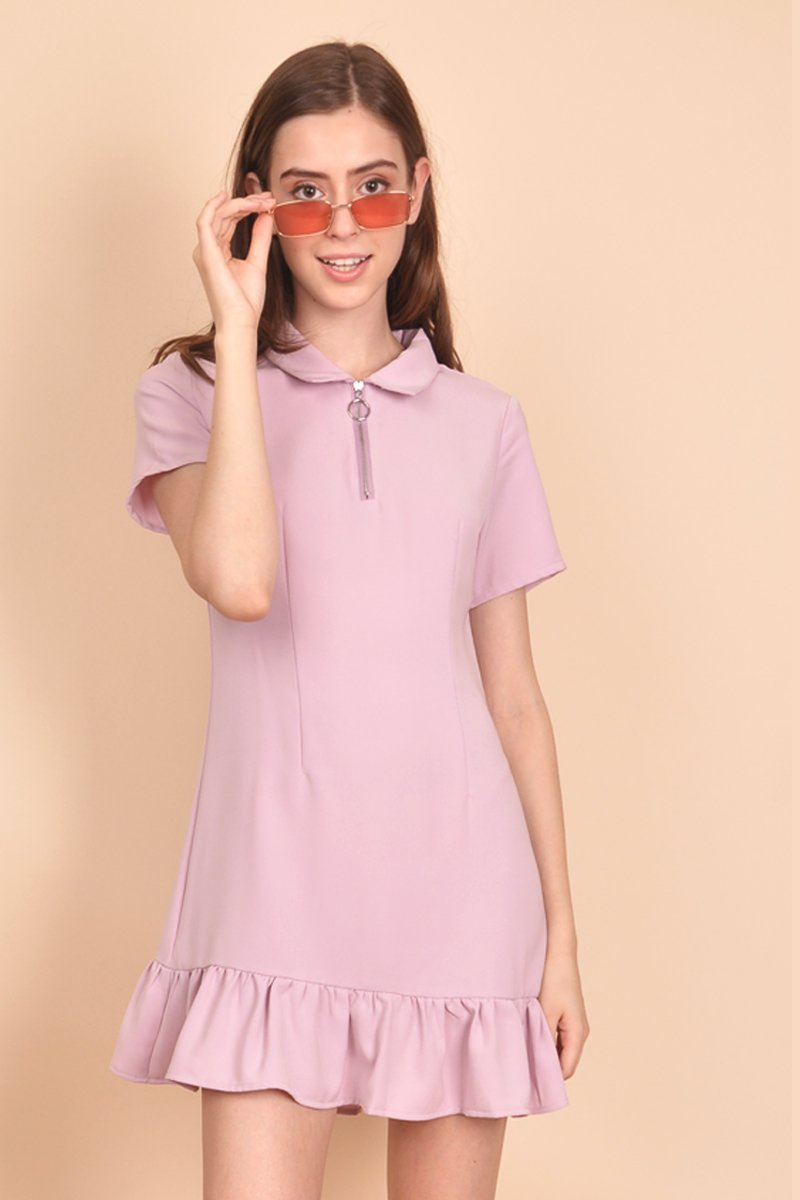 Elsie Zipper Collar Dress Blush