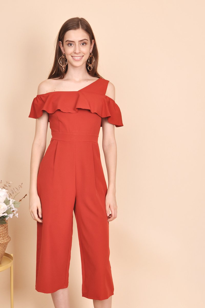 Maris Ruffle Layered Jumpsuit Rust