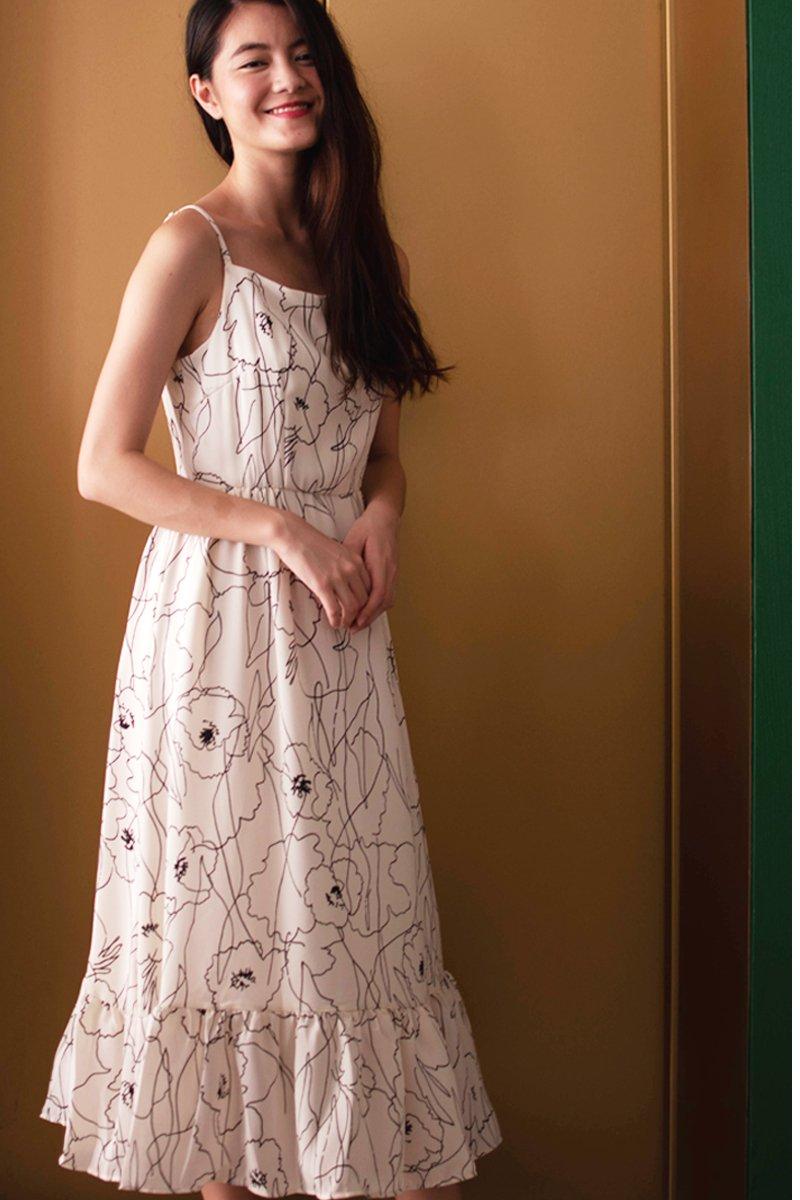 Jorin Floral Graffiti Midi Dress Ivory
