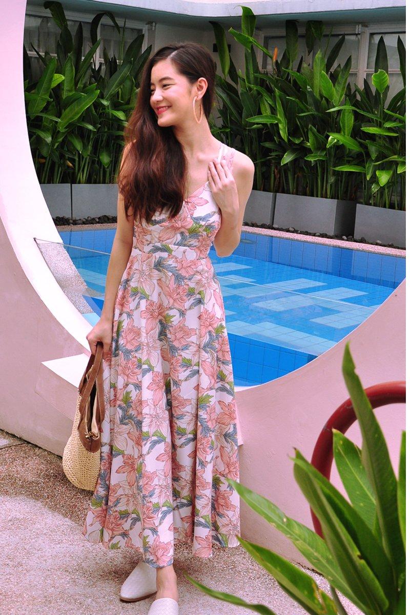 Safiya Floral Crossback Dress Ivory