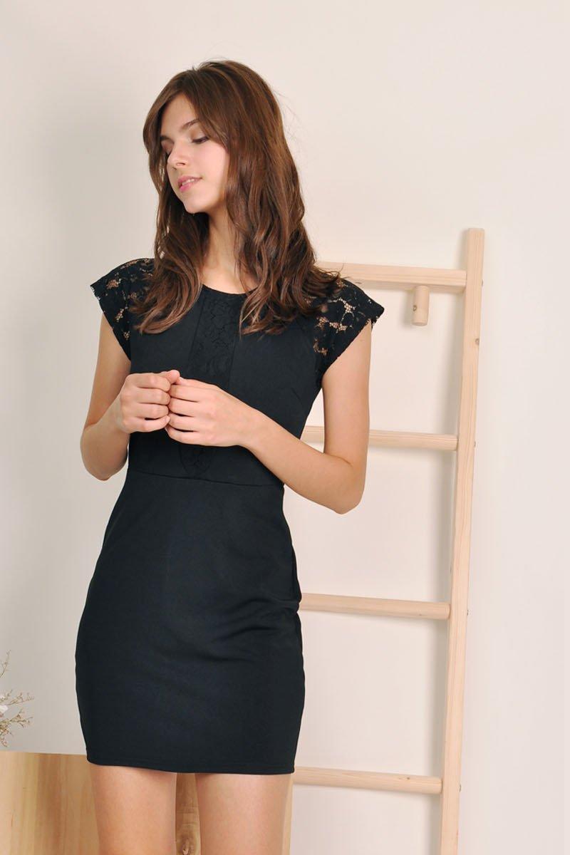 Guila Lace Panel Dress Black