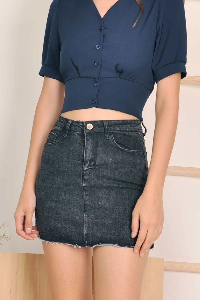 Reilly Washed Denim Skirt Black