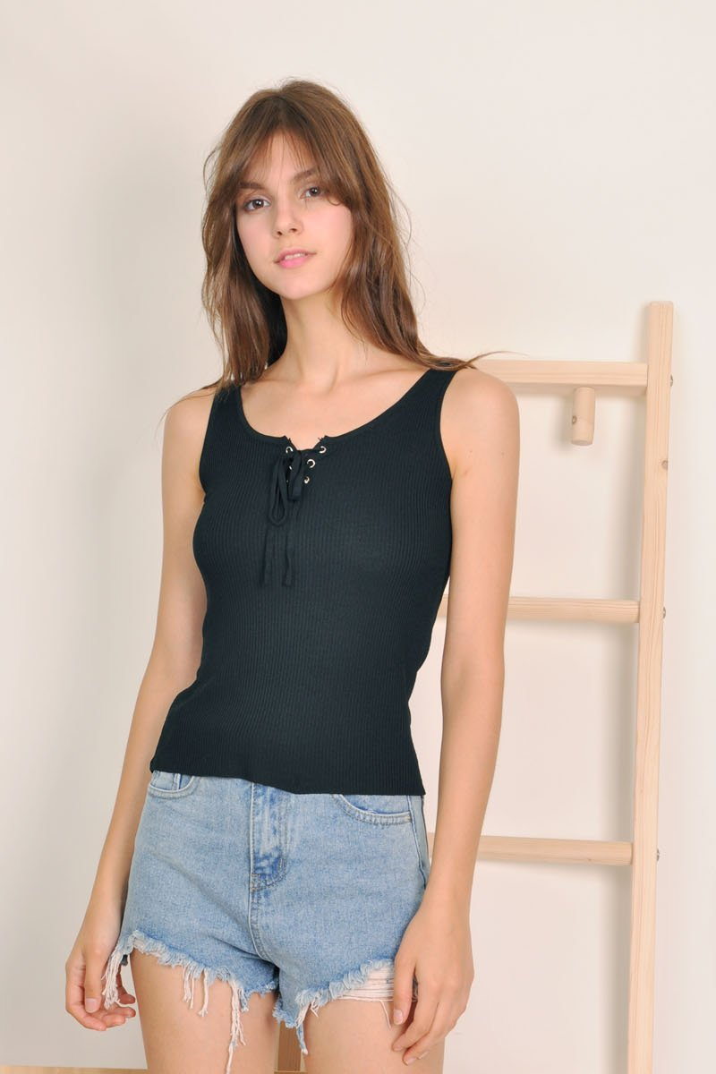 Eithne Lace-Up Ribbed Top Black