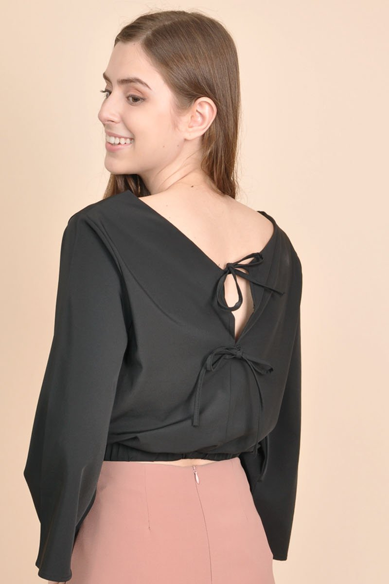 Benicia Tie Back Top Black