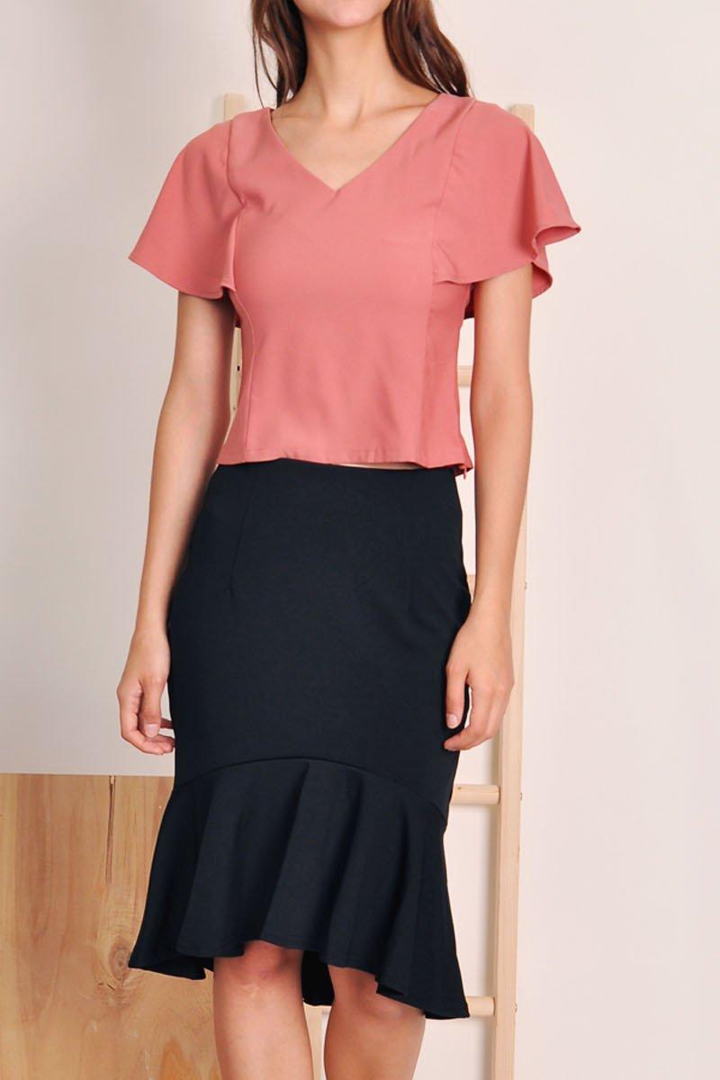 Cesaria Dropwaist Midi Skirt Black