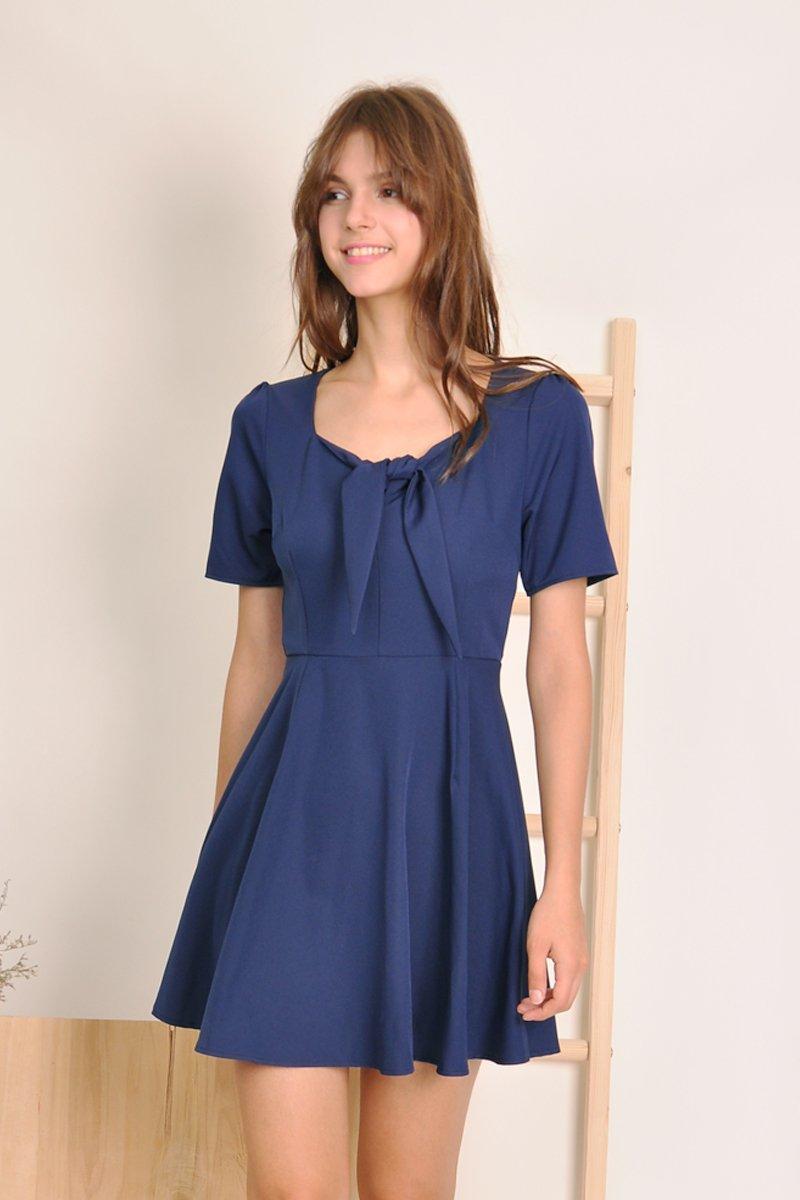 Aidan Front-Tie Dress Midnight