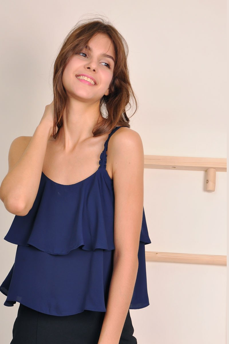 Danette Flowy Layered Top Midnight