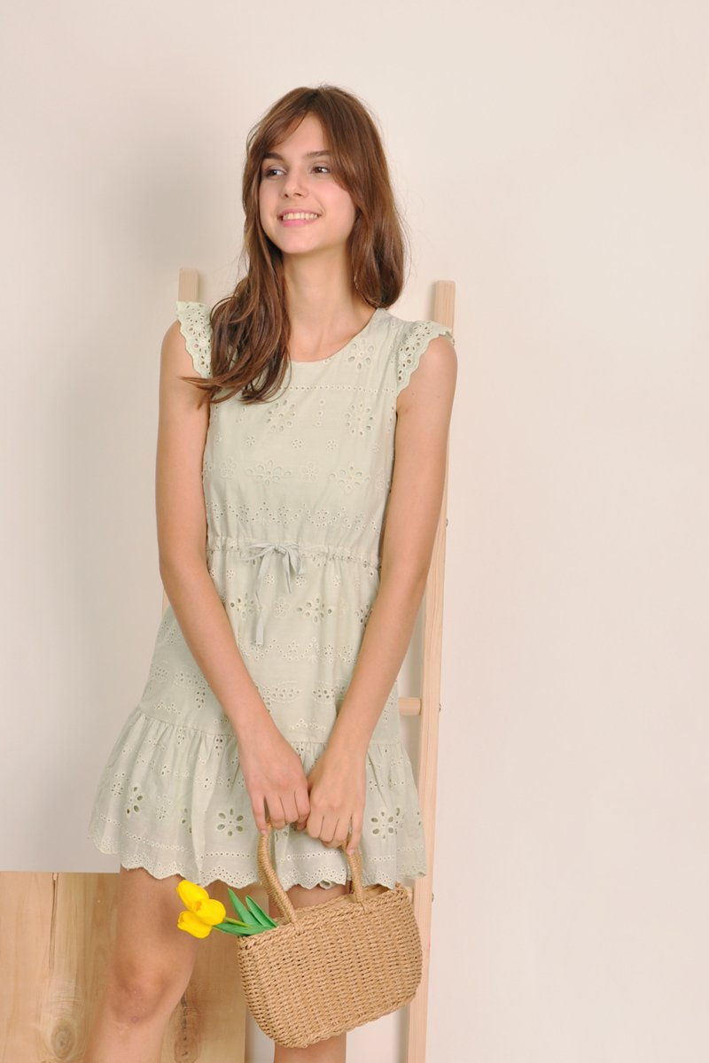 Lyra Babydoll Eyelet Dress Mint