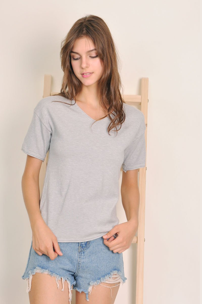Antonia Soft Knit Top Grey