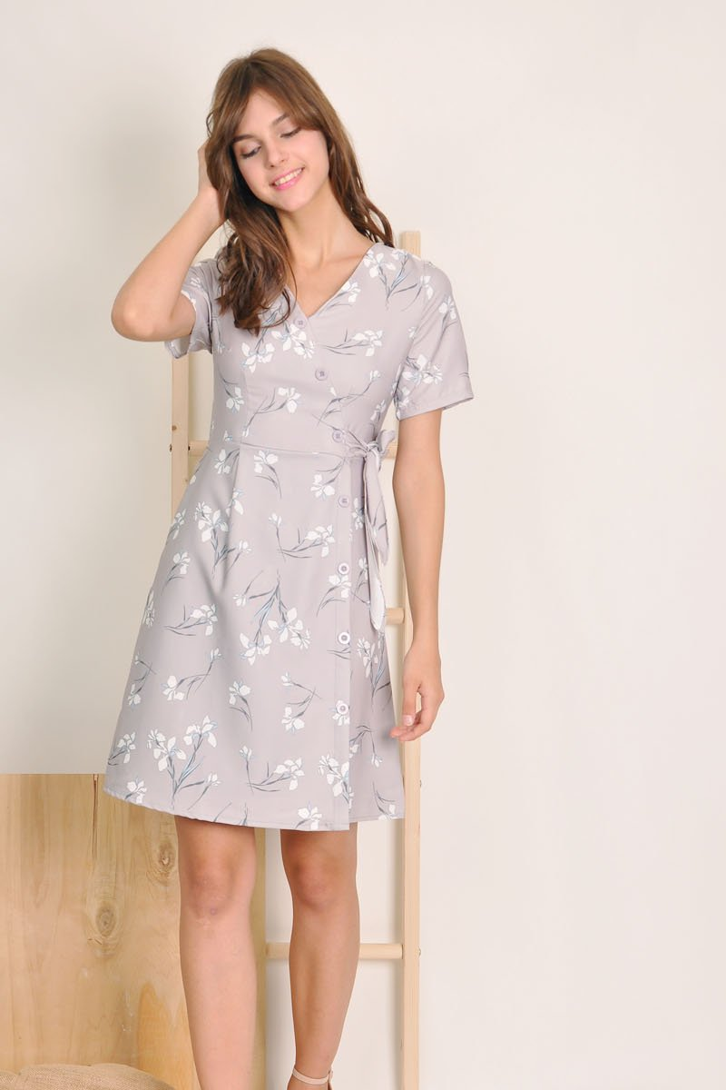 Willa Button Down Dress Grey