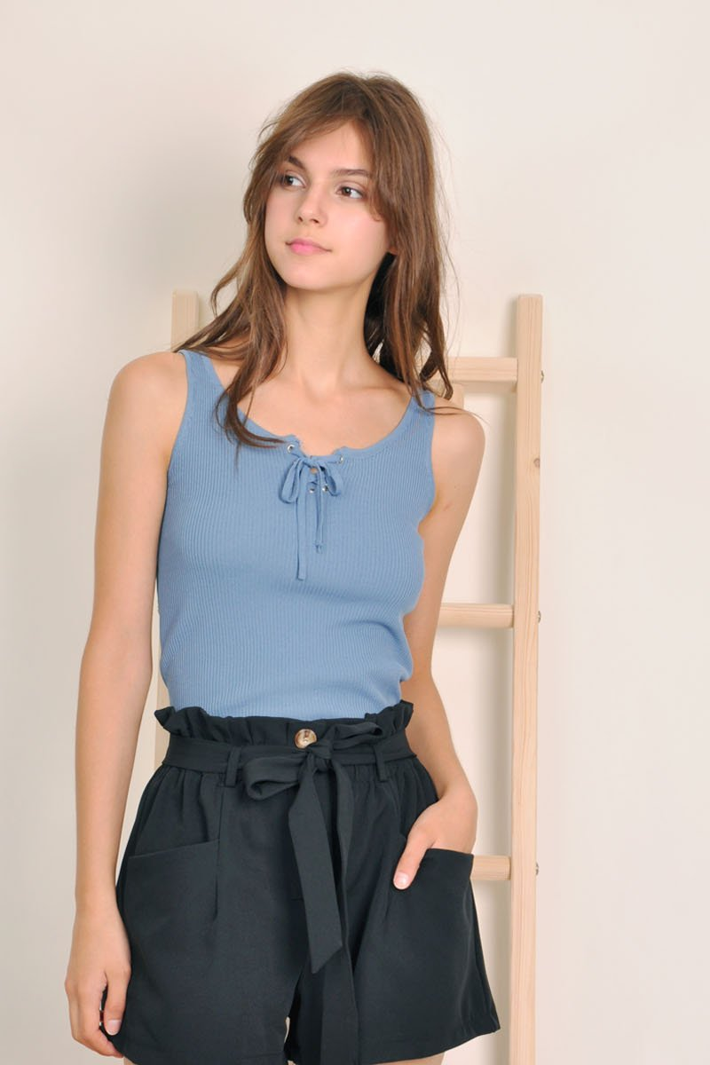 Eithne Lace-Up Ribbed Top Steel Blue