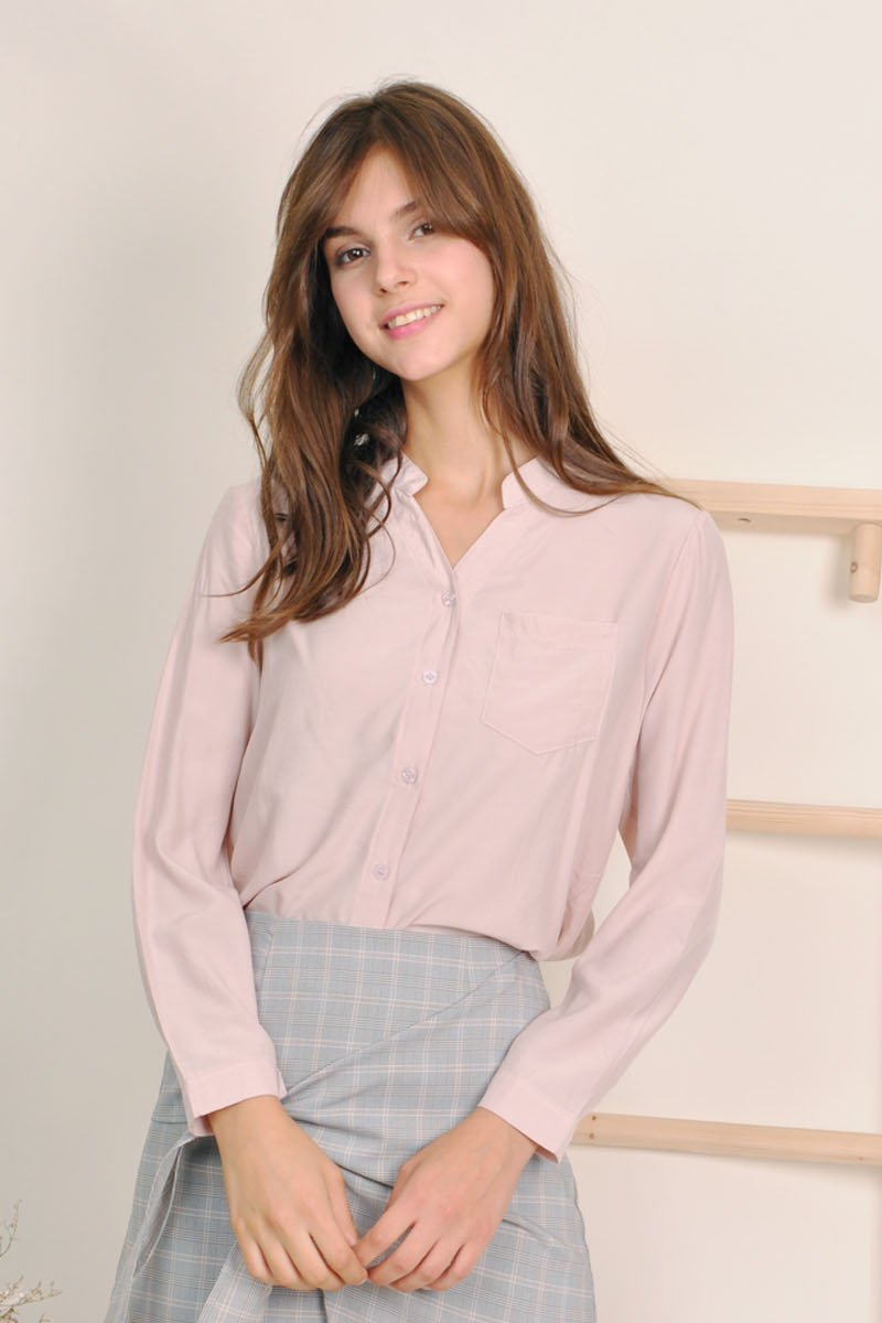 Martina Mandarin Collar Shirt Blush