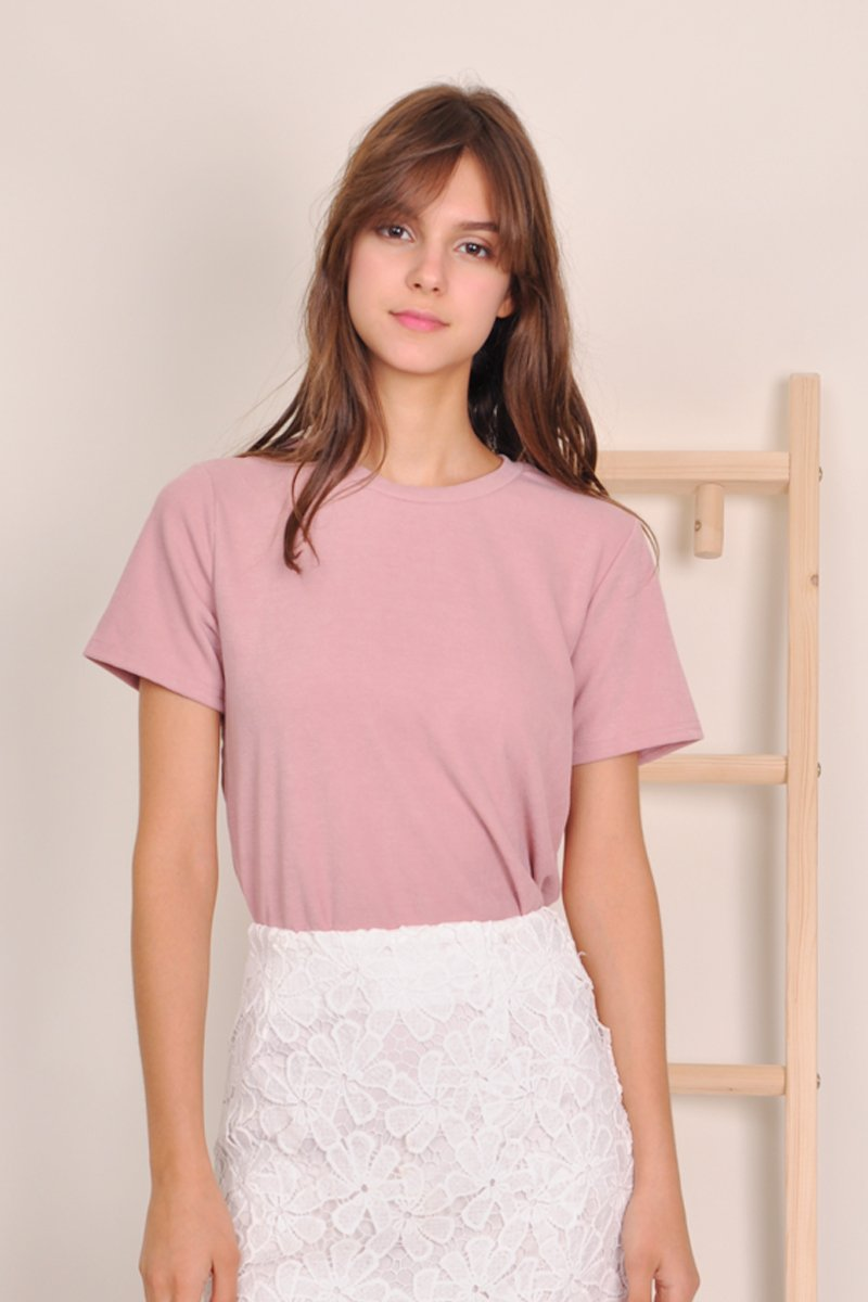 Roisin Basic Crew Neck Top Blush