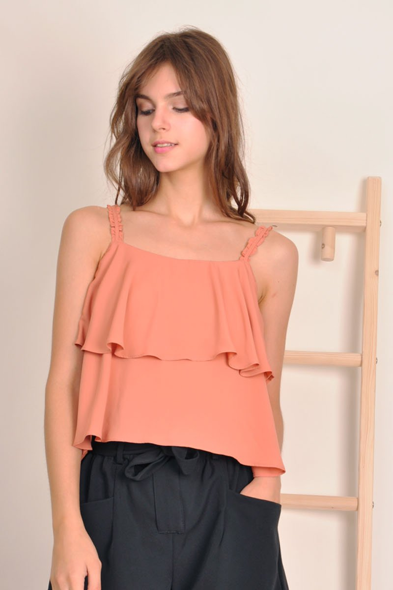 Danette Flowy Layered Top Coral