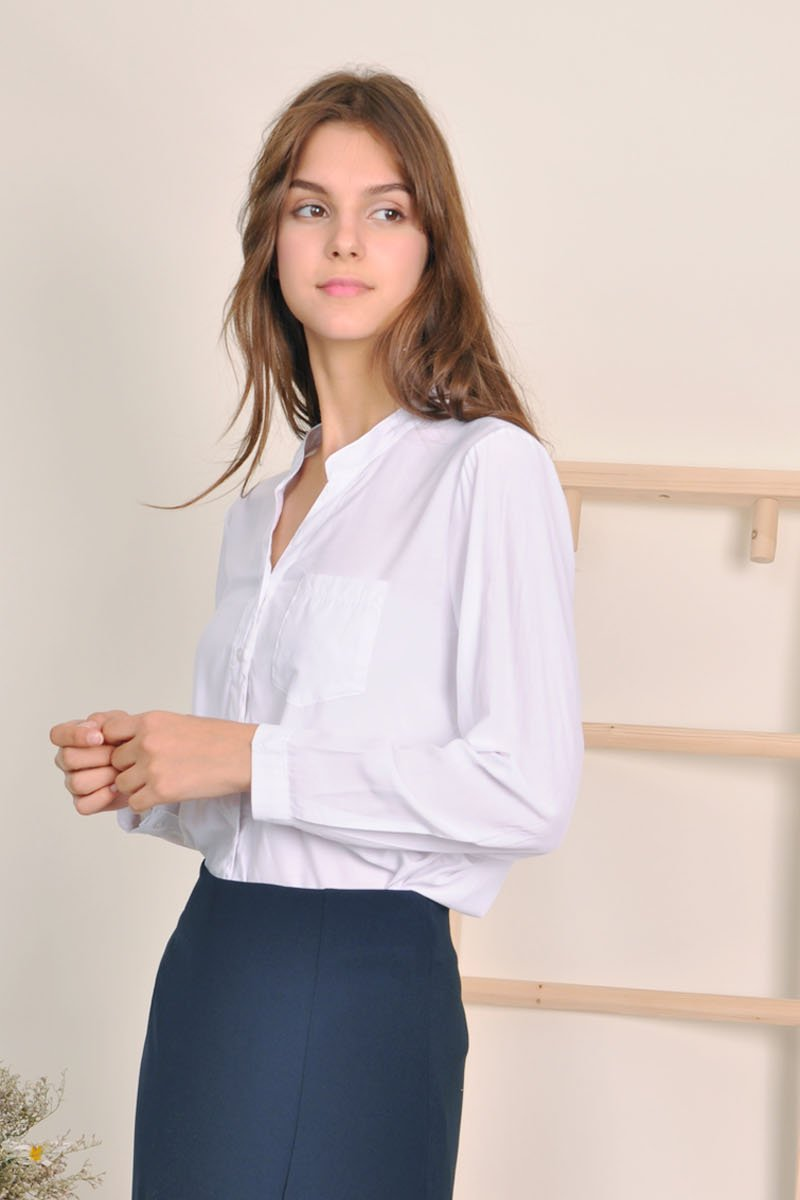 Martina Mandarin Collar Shirt Ivory