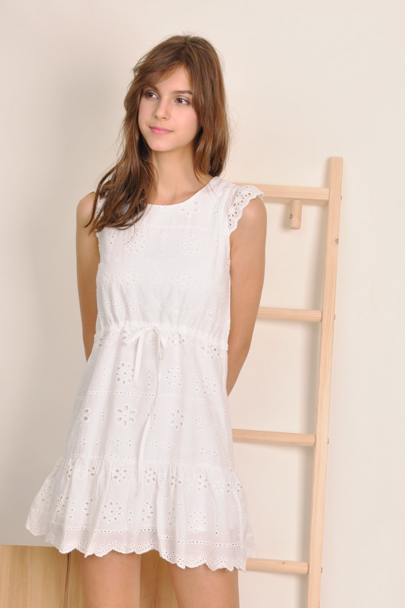Lyra Babydoll Eyelet Dress Ivory