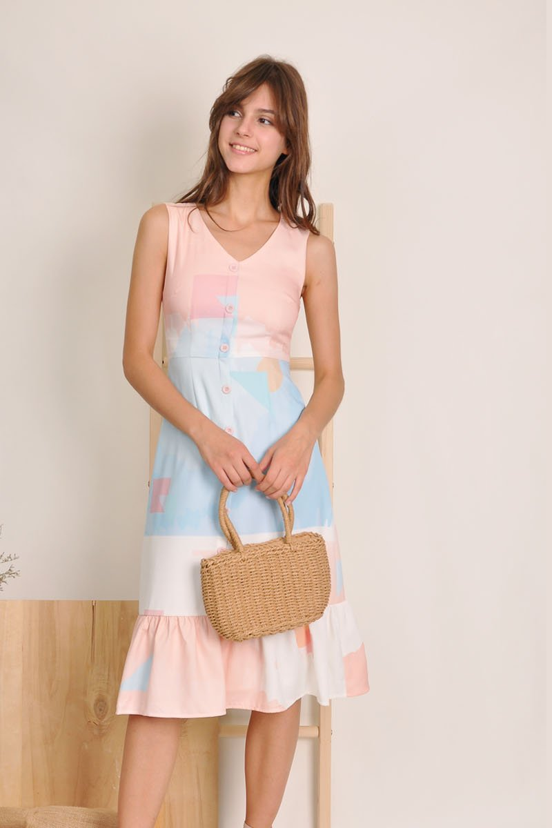 Alessia Ruffle Hem Midi Dress Ivory