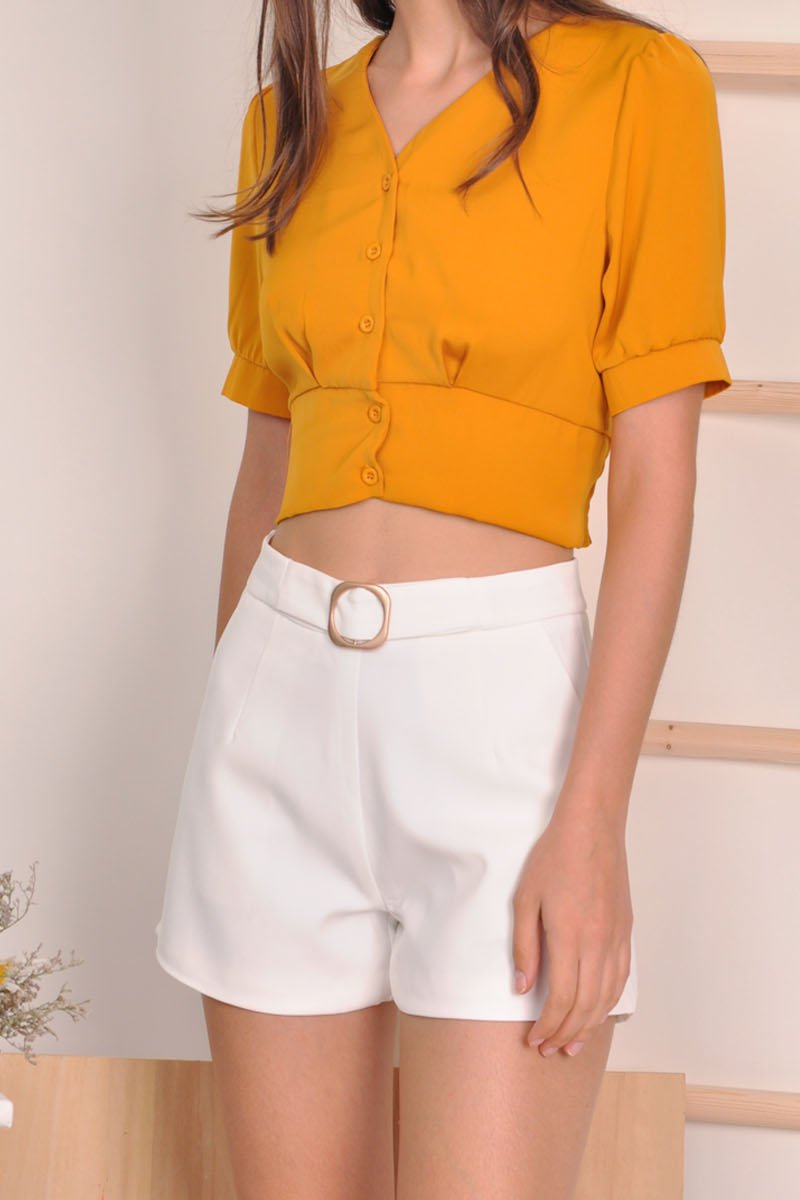 Nialla High-Waisted Buckled Shorts Ivory