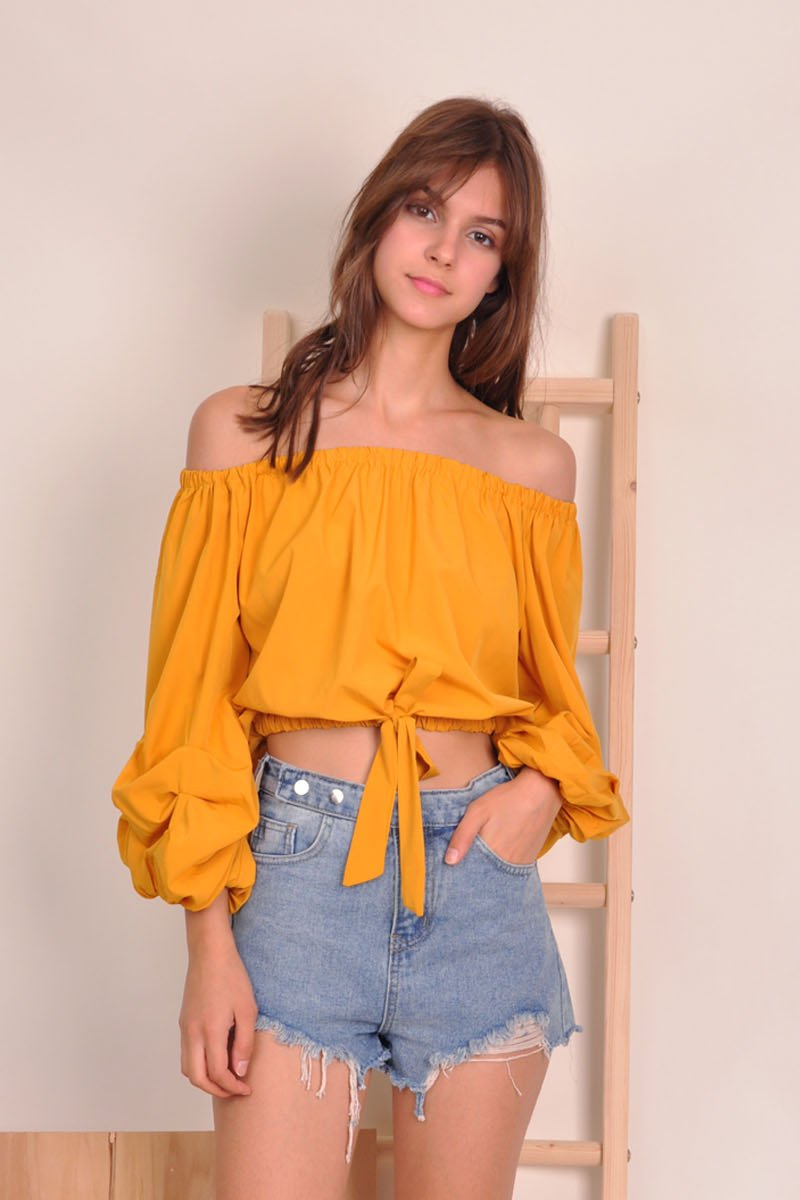 Roan Puffed Sleeves Off-Shoulder Top Mustard