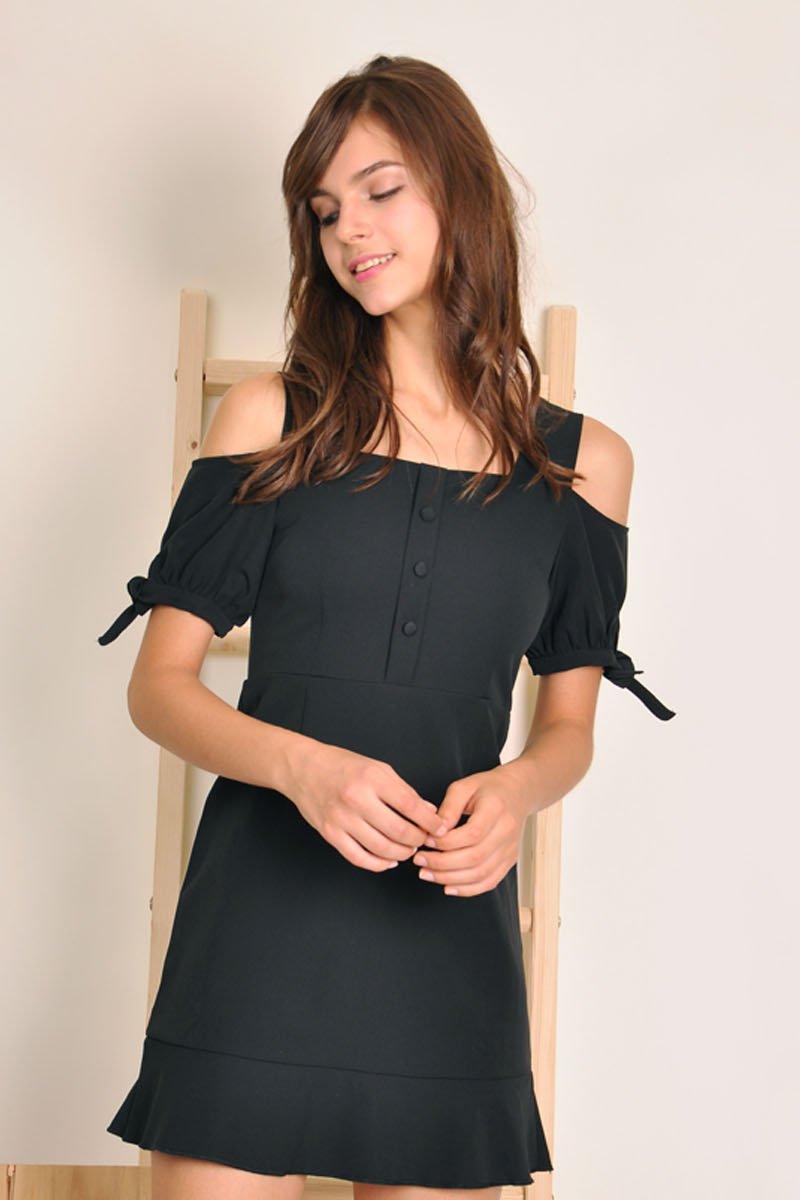 Odilia Cold-Shoulder Dress Black