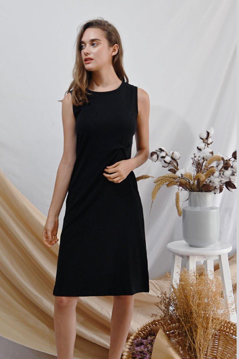 Liona Knotted Midi Dress Black