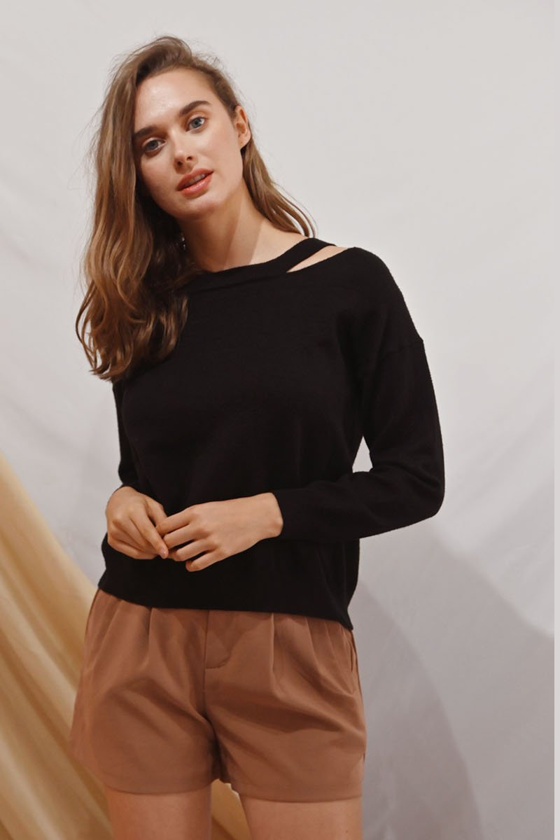 Lucine Knit Lace-Up Pullover Black