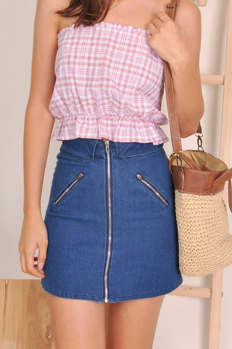 Zosha Denim Zipper Skirt