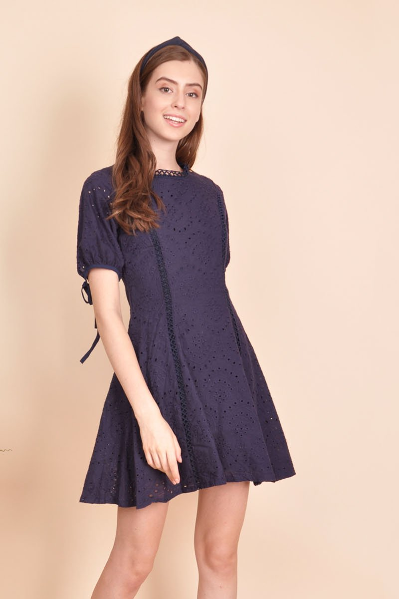 Abrial Puffed Sleeve Eyelet Dress Midnight